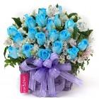 Blue Roses in Wood Basket