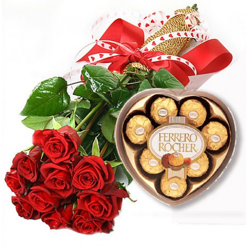 Rose Bouquet and Chocolate